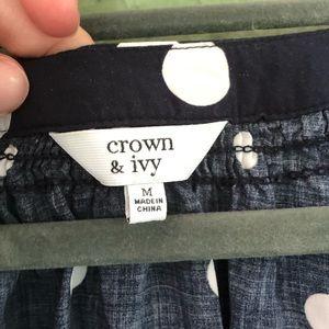 crown & ivy Tops - Crown & Ivy Navy and White Polka Dot Top Medium